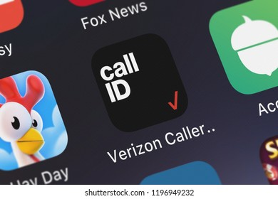 London, United Kingdom - October 01, 2018: Icon of the mobile app Verizon Caller Name ID from Verizon Wireless on an iPhone.