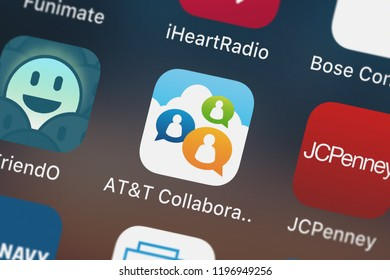 London, United Kingdom - October 01, 2018: The ATT Collaborate mobile app from ATT Services, Inc. on an iPhone screen.