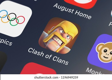London, United Kingdom - October 01, 2018: Close-up shot of the Clash of Clans mobile app from Supercell.
