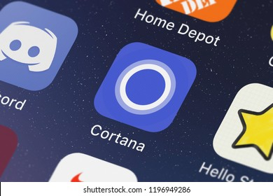 London, United Kingdom - October 01, 2018: Close-up of the Cortana icon from Microsoft Corporation on an iPhone.