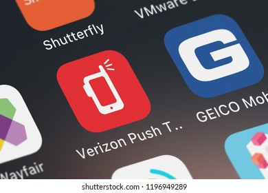 London, United Kingdom - October 01, 2018: Close-up shot of the Verizon Push To Talk Plus application icon from Verizon Wireless on an iPhone.