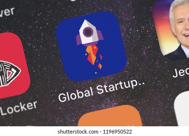 London, United Kingdom - October 01, 2018: Screenshot of Microsoft Corporation's mobile app Microsoft Global Startup Directory.