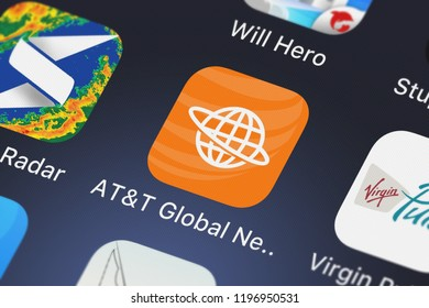 London, United Kingdom - October 01, 2018: Close-up of the ATT Global Network Client icon from ATT Services, Inc. on an iPhone.