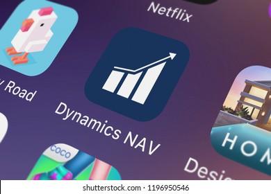 London, United Kingdom - October 01, 2018: Close-up shot of Microsoft Corporation's popular app Dynamics NAV.