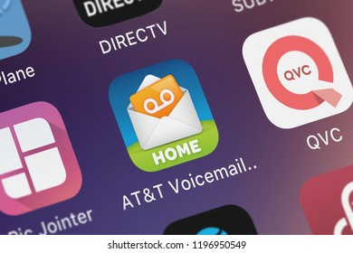 London, United Kingdom - October 01, 2018: Close-up of the ATT Voicemail Viewer (Home) icon from ATT Services, Inc. on an iPhone.