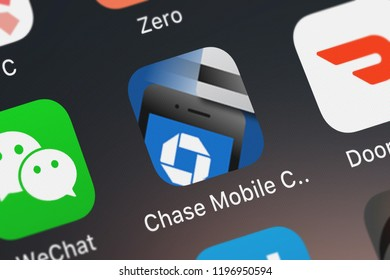 London, United Kingdom - October 01, 2018: Close-up shot of the Chase Mobile Checkout (SM) mobile app from JPMorgan Chase  Co..