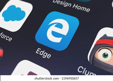 London, United Kingdom - October 01, 2018: Icon of the mobile app Microsoft Edge from Microsoft Corporation on an iPhone.