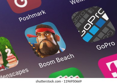 London, United Kingdom - October 01, 2018: Close-up of the Boom Beach icon from Supercell on an iPhone.