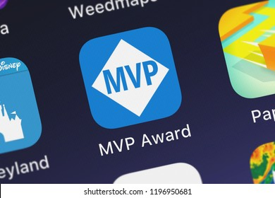 London, United Kingdom - October 01, 2018: Close-up shot of the Microsoft MVP Award application icon from Microsoft Corporation on an iPhone.
