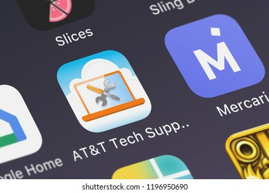 London, United Kingdom - October 01, 2018: Screenshot of the ATT Tech Support 360℠ mobile app from ATT Services, Inc. icon on an iPhone.