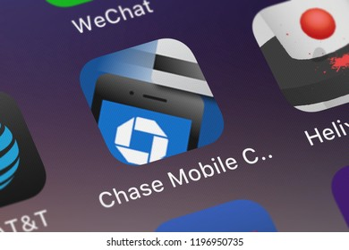 London, United Kingdom - October 01, 2018: The Chase Mobile Checkout mobile app from JPMorgan Chase  Co. on an iPhone screen.