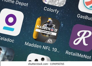London, United Kingdom - October 01, 2018: Screenshot of Electronic Arts's mobile app Madden NFL 19 Companion.