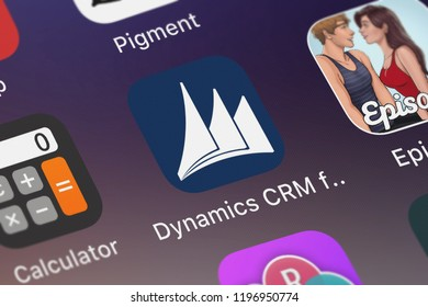 London, United Kingdom - October 01, 2018: Screenshot of the mobile app Dynamics CRM for phones express from Microsoft Corporation.