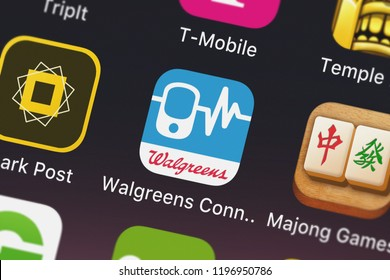 London, United Kingdom - October 01, 2018: Close-up shot of Walgreen Co.'s popular app Walgreens Connect - for Well at Walgreens devices.