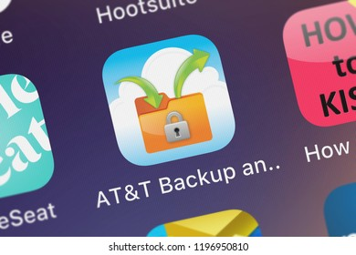 London, United Kingdom - October 01, 2018: Icon of the mobile app ATT Backup and Go from ATT Services, Inc. on an iPhone.