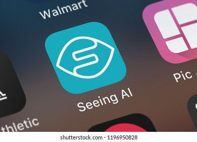 London, United Kingdom - October 01, 2018: Close-up of the Seeing AI icon from Microsoft Corporation on an iPhone.