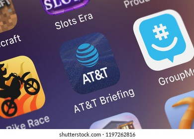 London, United Kingdom - October 01, 2018: Screenshot of the mobile app ATT Briefing from ATT Services, Inc..