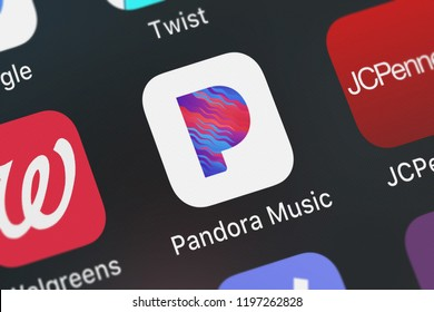 London, United Kingdom - October 01, 2018: Screenshot of the Pandora Music mobile app from Pandora Media, Inc. icon on an iPhone.