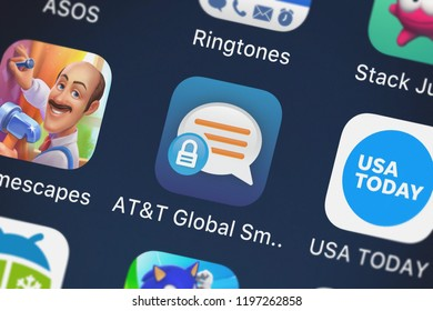 London, United Kingdom - October 01, 2018: Close-up shot of the ATT Global Smart Messaging mobile app from ATT Services, Inc..