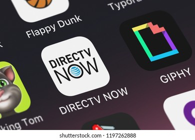 London, United Kingdom - October 01, 2018: Icon of the mobile app DIRECTV NOW from ATT Services, Inc. on an iPhone.