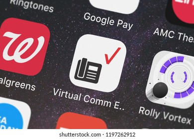 London, United Kingdom - October 01, 2018: Close-up shot of the Virtual Comm Express Tablet mobile app from Verizon Wireless.