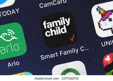 London, United Kingdom - October 01, 2018: Close-up shot of Verizon Wireless's popular app Smart Family Companion.