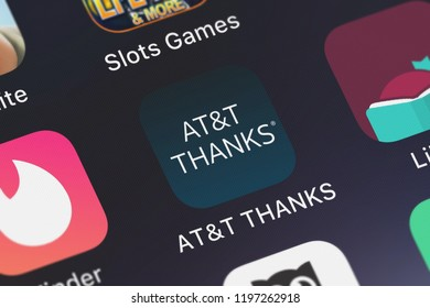London, United Kingdom - October 01, 2018: Screenshot of the ATT THANKS® mobile app from ATT Services, Inc. icon on an iPhone.