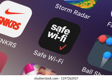 London, United Kingdom - October 01, 2018: Screenshot of the Safe Wi-Fi mobile app from Verizon Wireless icon on an iPhone.