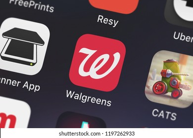 London, United Kingdom - October 01, 2018: Screenshot of the mobile app Walgreens from Walgreen Co..