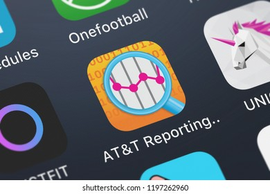 London, United Kingdom - October 01, 2018: Close-up shot of the ATT Reporting Platform application icon from ATT Services, Inc. on an iPhone.