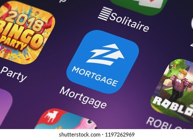 London, United Kingdom - October 01, 2018: Close-up shot of Zillow.com's popular app Mortgage by Zillow.