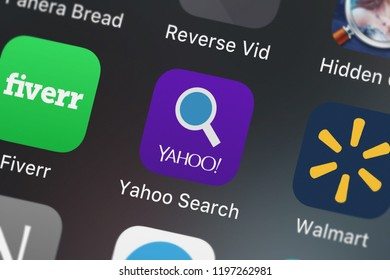 London, United Kingdom - October 01, 2018: Screenshot of the Yahoo Search mobile app from Yahoo icon on an iPhone.