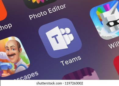 London, United Kingdom - October 01, 2018: Icon of the mobile app Microsoft Teams from Microsoft Corporation on an iPhone.