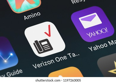 London, United Kingdom - October 01, 2018: Screenshot of Verizon Wireless's mobile app Verizon One Talk.