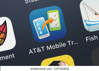 London, United Kingdom - October 01, 2018: Close-up of the ATT Mobile Transfer icon from ATT Services, Inc. on an iPhone.