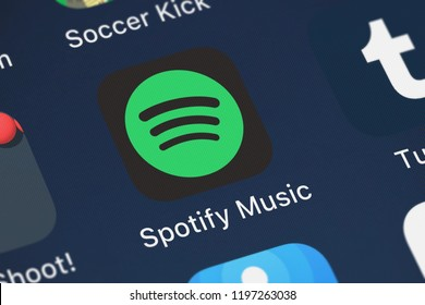 London, United Kingdom - October 01, 2018: Close-up of the Spotify Music icon from Spotify Ltd. on an iPhone.