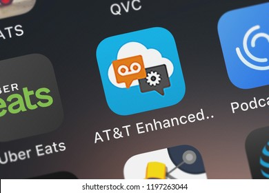 London, United Kingdom - October 01, 2018: The ATT Enhanced Mobile mobile app from ATT Services, Inc. on an iPhone screen.