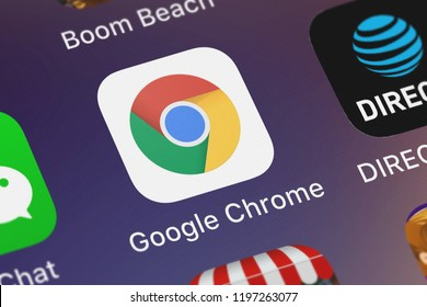 London, United Kingdom - October 01, 2018: Close-up shot of the Google Chrome mobile app from Google, Inc..