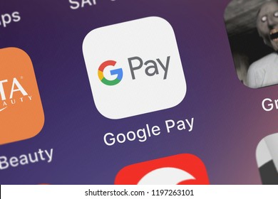 London, United Kingdom - October 01, 2018: Screenshot of the Google Pay mobile app from Google, Inc. icon on an iPhone.