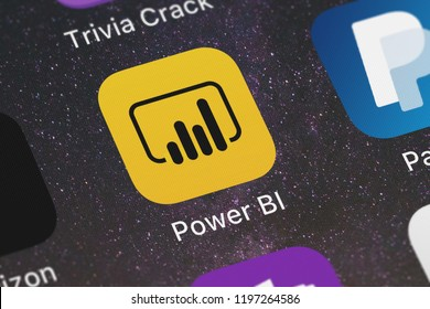 London, United Kingdom - October 01, 2018: Screenshot of Microsoft Corporation's mobile app Microsoft Power BI.