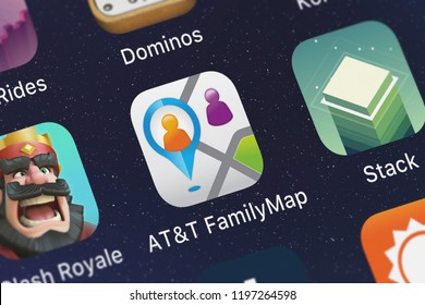 London, United Kingdom - October 01, 2018: The ATT FamilyMap® mobile app from ATT Services, Inc. on an iPhone screen.