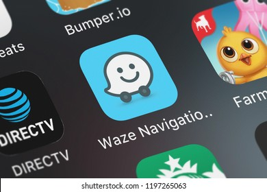 London, United Kingdom - October 01, 2018: Screenshot of Waze Inc.'s mobile app Waze Navigation  Live Traffic.
