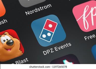 London, United Kingdom - October 01, 2018: Close-up shot of Domino's Pizza LLC's popular app DPZ Events.