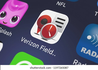 London, United Kingdom - October 01, 2018: Close-up shot of Verizon Wireless's popular app Verizon Field Force Manager.