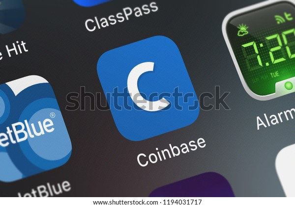 London, United Kingdom - October 01, 2018: Screenshot of the mobile app Coinbase - Buy Bitcoin  more from Coinbase, Inc..