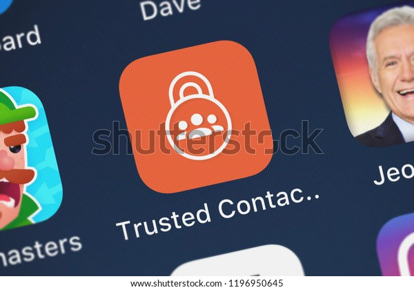 London, United Kingdom - October 01, 2018: Close-up shot of the Trusted Contacts application icon from Google, Inc. on an iPhone.