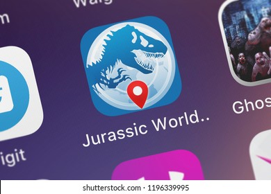 London, United Kingdom - October 05, 2018: Close-up of the Jurassic World™ Alive icon from Ludia on an iPhone.