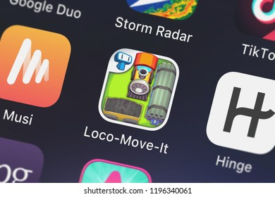 London, United Kingdom - October 05, 2018: Icon of the mobile app Loco-Move-It - Sliding and Unblock Puzzle Game from Tapps Tecnologia da Informação Ltda. on an iPhone.