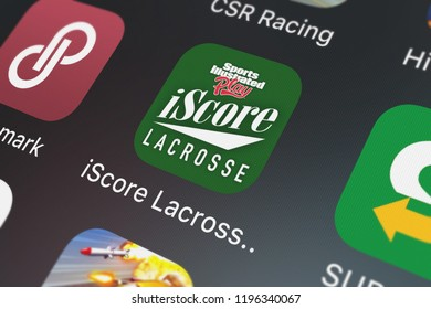 London, United Kingdom - October 05, 2018: Close-up shot of the iScore Lacrosse Scorekeeper mobile app from Sports Illustrated Play LLC.