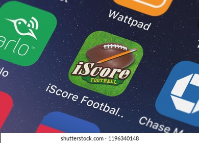London, United Kingdom - October 05, 2018: Close-up shot of the iScore Football Scorekeeper mobile app from Sports Illustrated Play LLC.